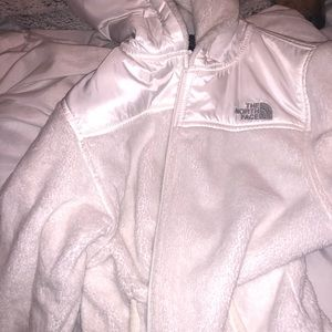 White Furry North Face Jacket